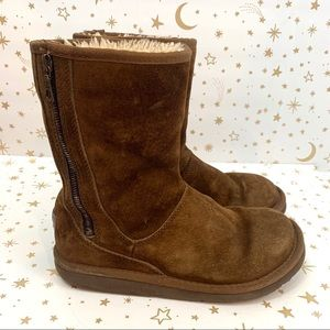 Ugg | Side Zipper Short Brown Winter Boots Size 8